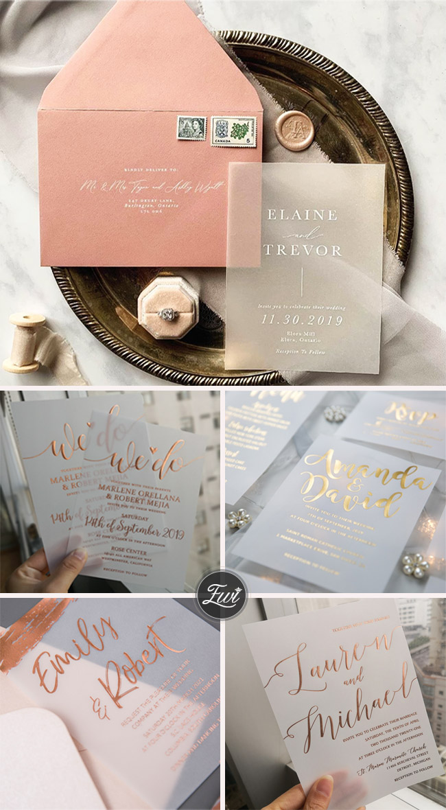 trending modern vellum paper wedding invitations