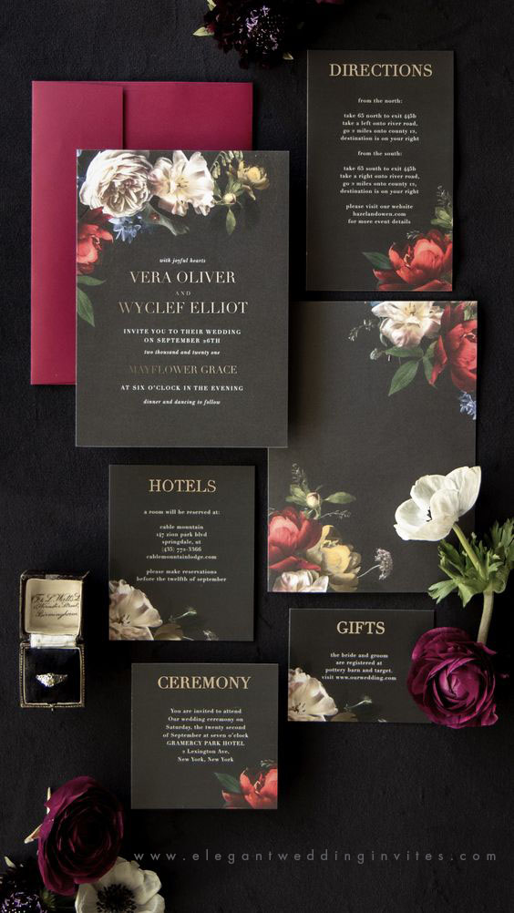 bold and moody color palette wedding invitations
