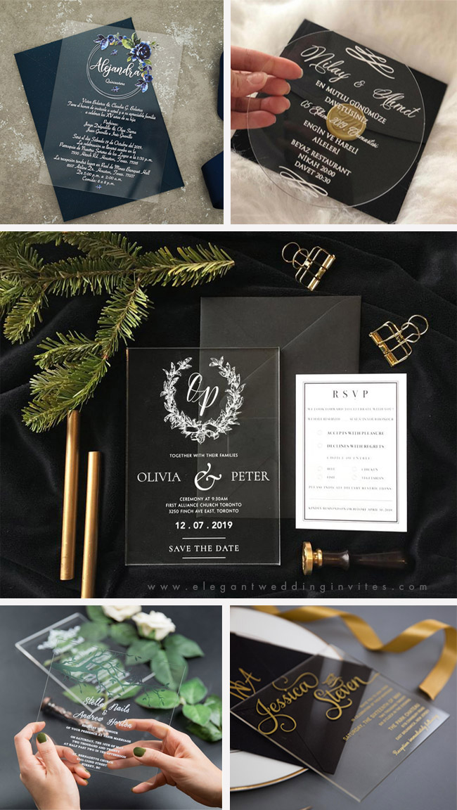 clearly acrylic wedding invitation trends for 2020