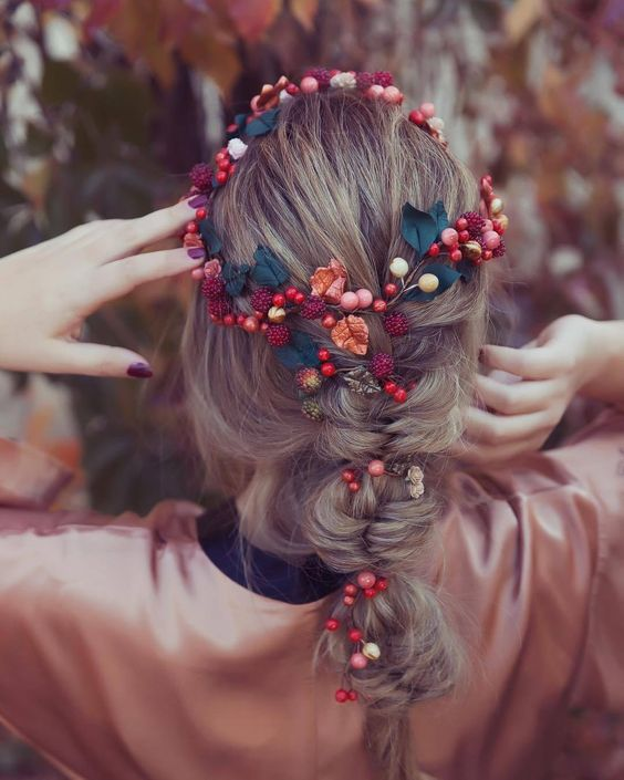 wedding hairstyle for Braided Crown with burgundy flower