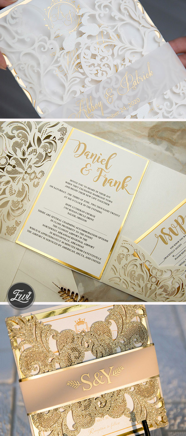 stunning netural gold foil wedding invitation from EWI