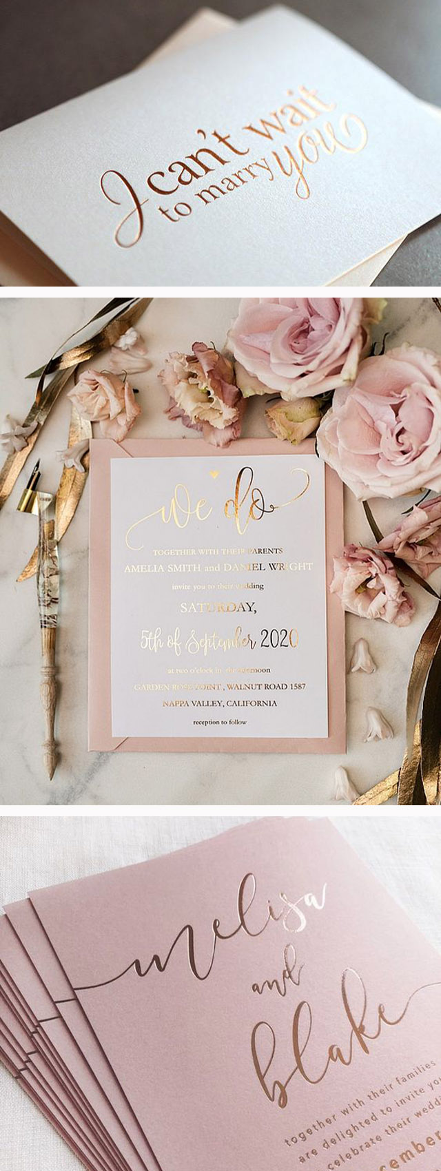 stylish gold foil wedding invitation trends
