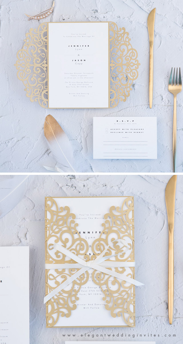 cold laser cut wrap with modern styled minimal invitation