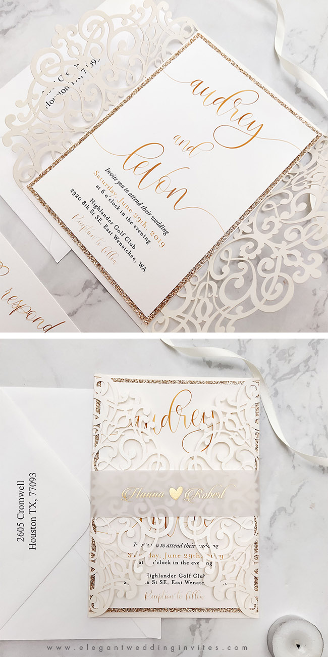 ivory calligraphy laser cut wedding invites with foil printed vellum belly band