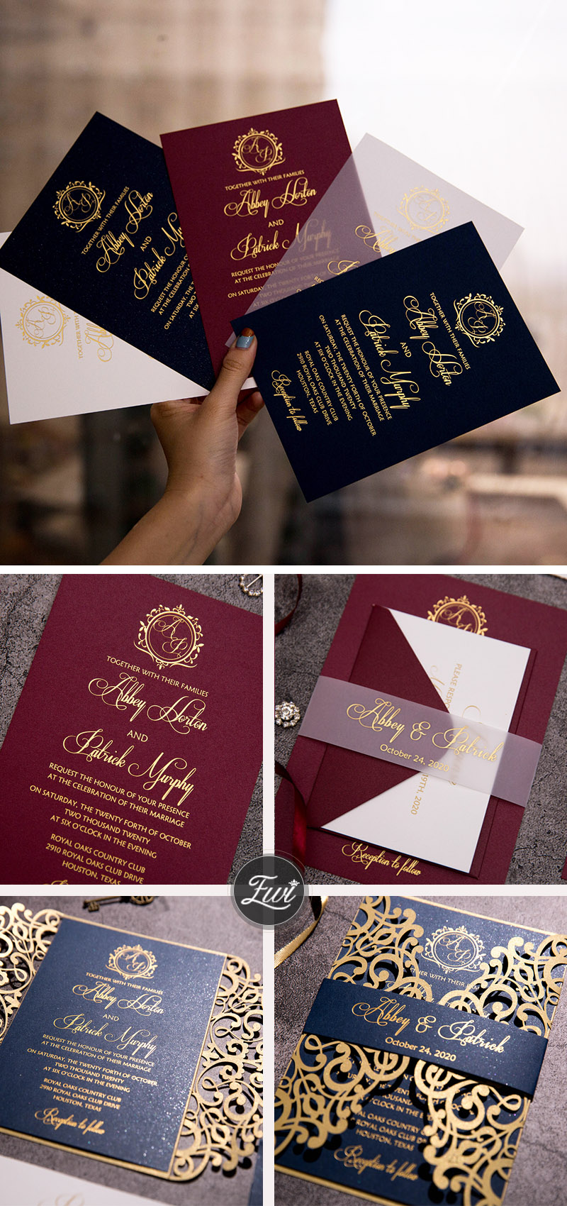 dark color foil monogram invitations with chic belly band