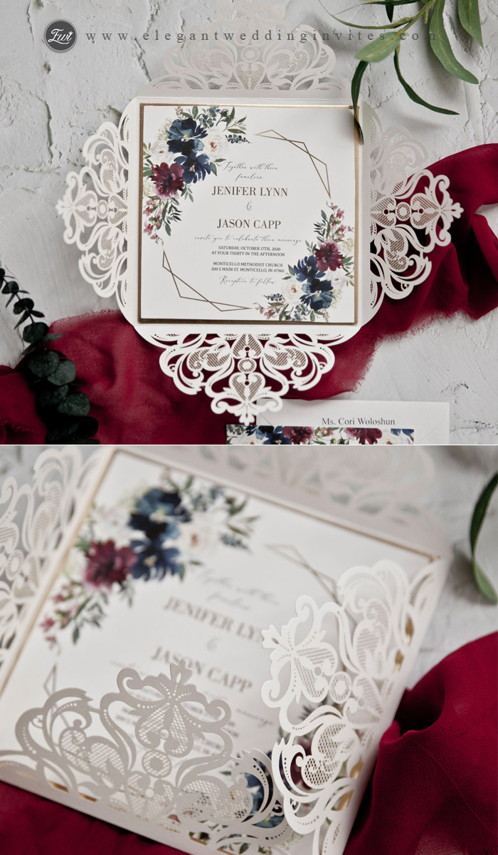 Ivory laser cut wedding invitation with burgundy and dusty blue floral inner card