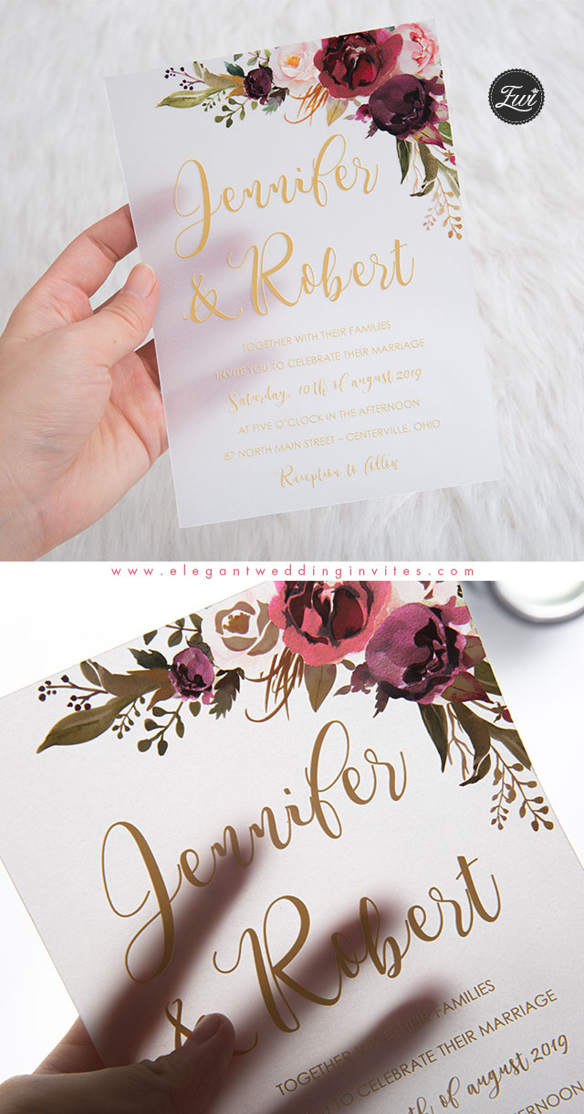 beautiful boho theme floral wedding invitations in acrylic and vellum paper