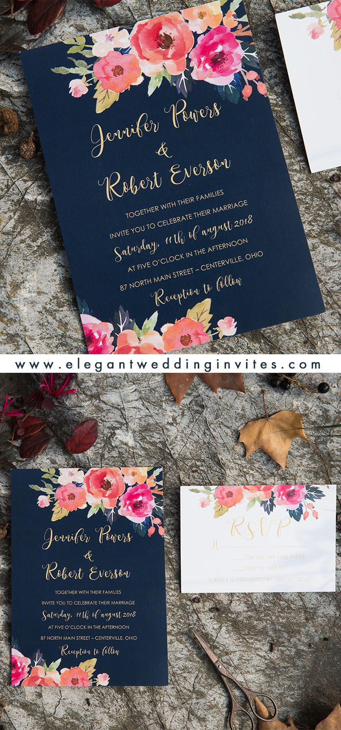 blue and coral watercolor floral wedding invitation cards