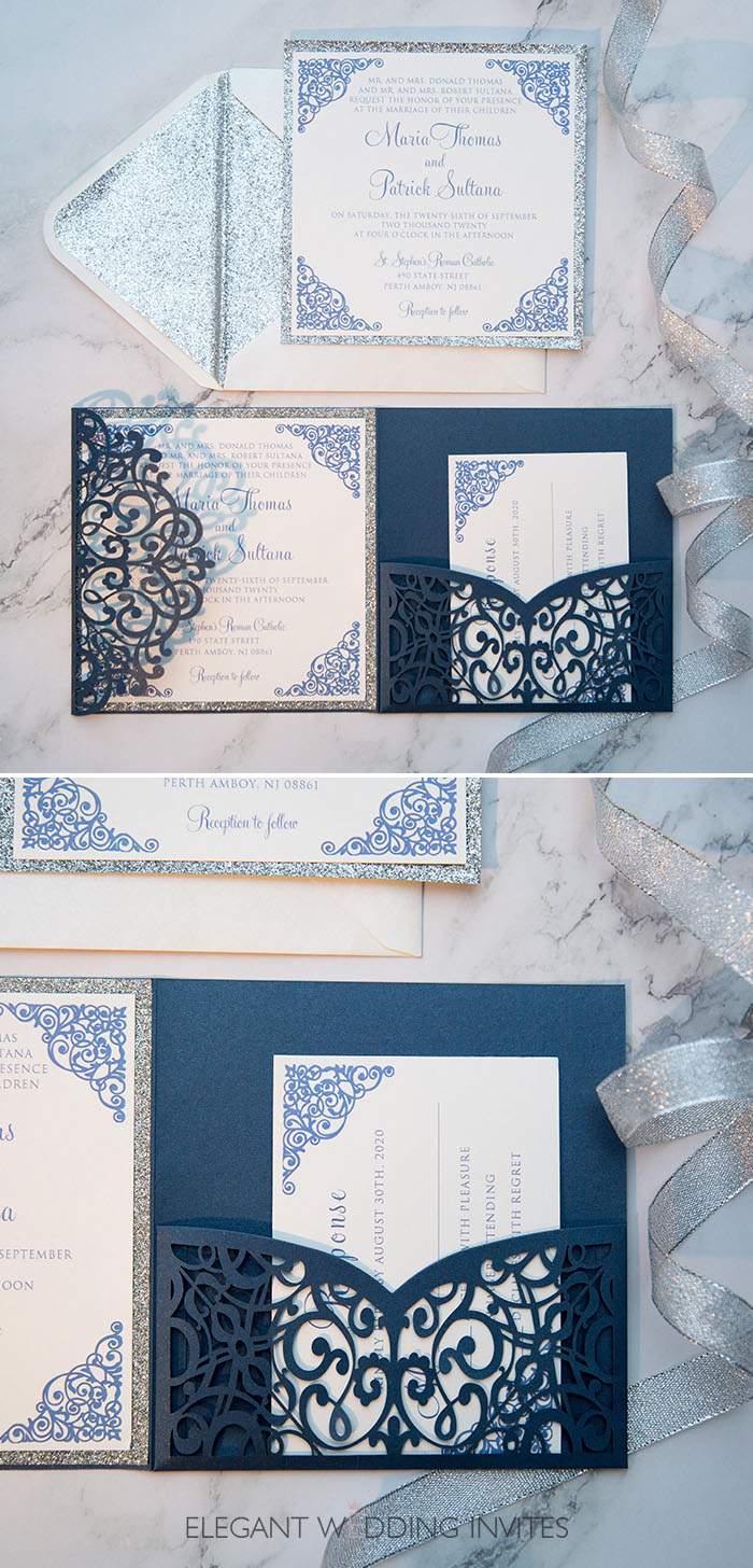 blue and silver pocket laser cut wedding invitations