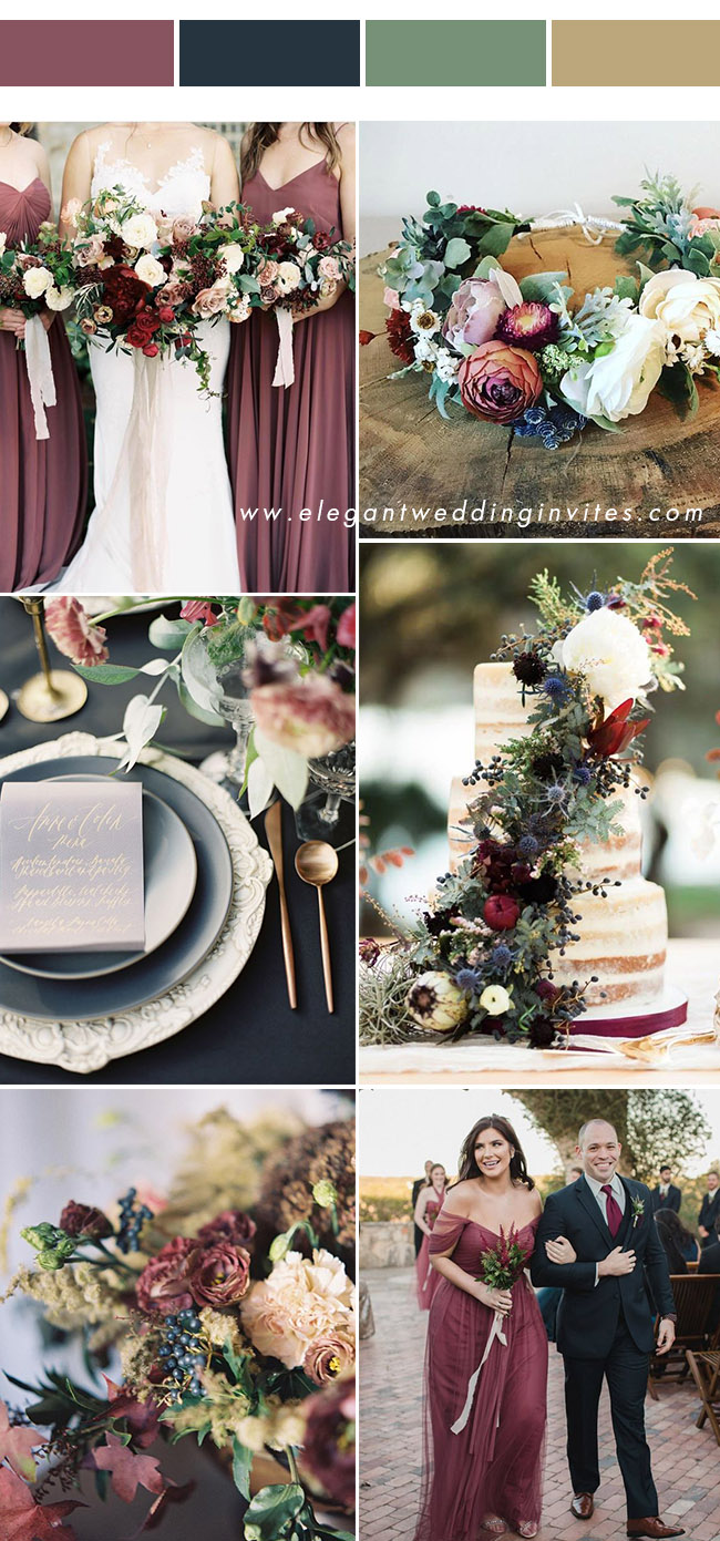 chic cinnamon rose and navy blue organic wedding color trends