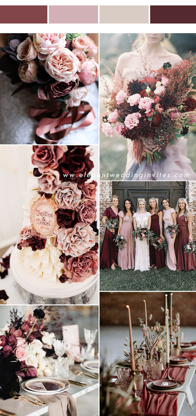 cinnamon rose, burgundy, dusty rose wedding colors with hint of blush