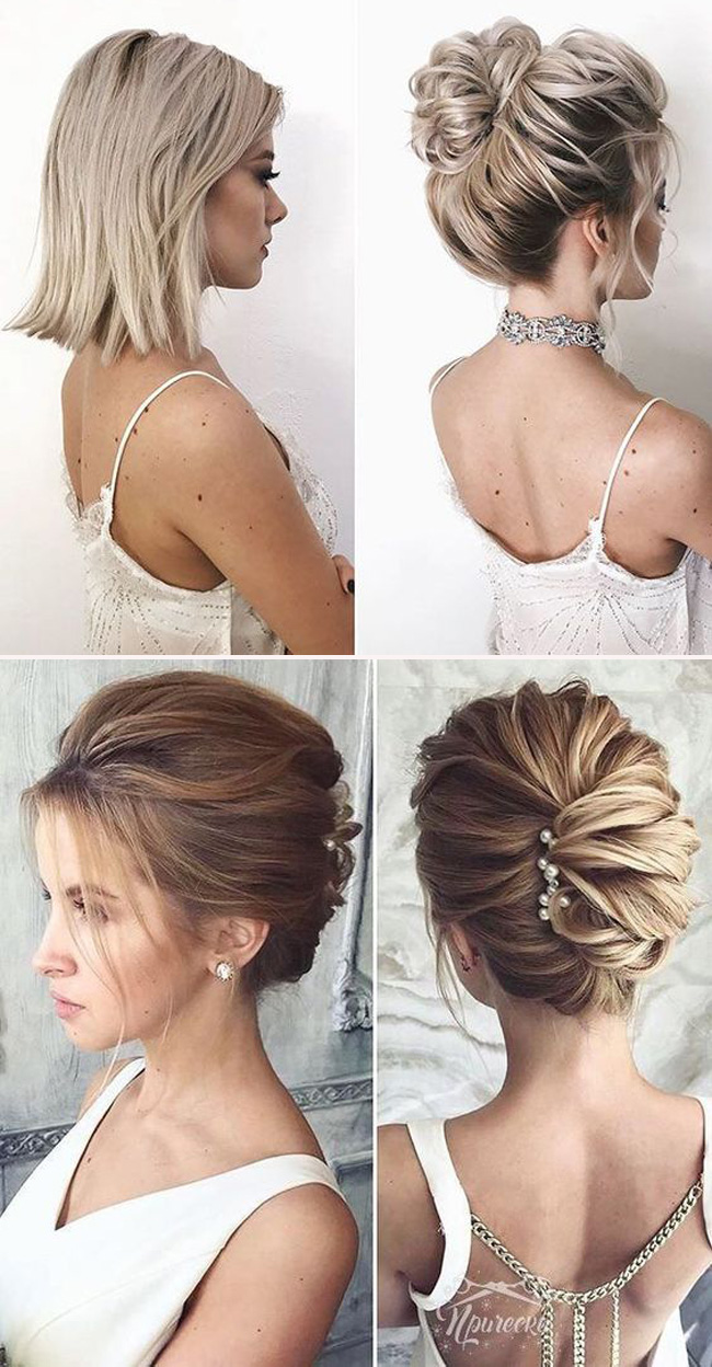 classic updo wedding hairstyle for medium length