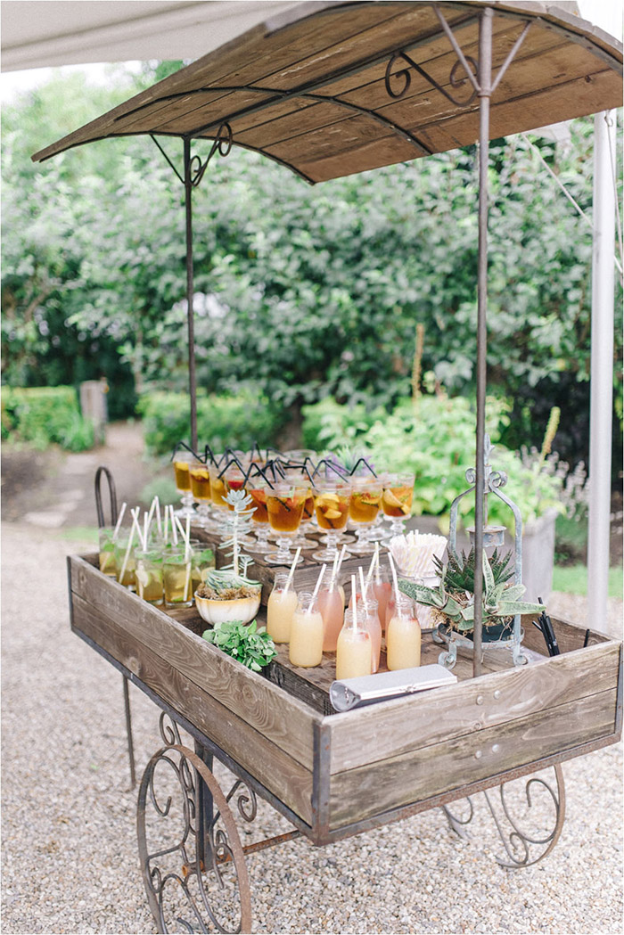 creative garden and backyear drink table wedding ideas