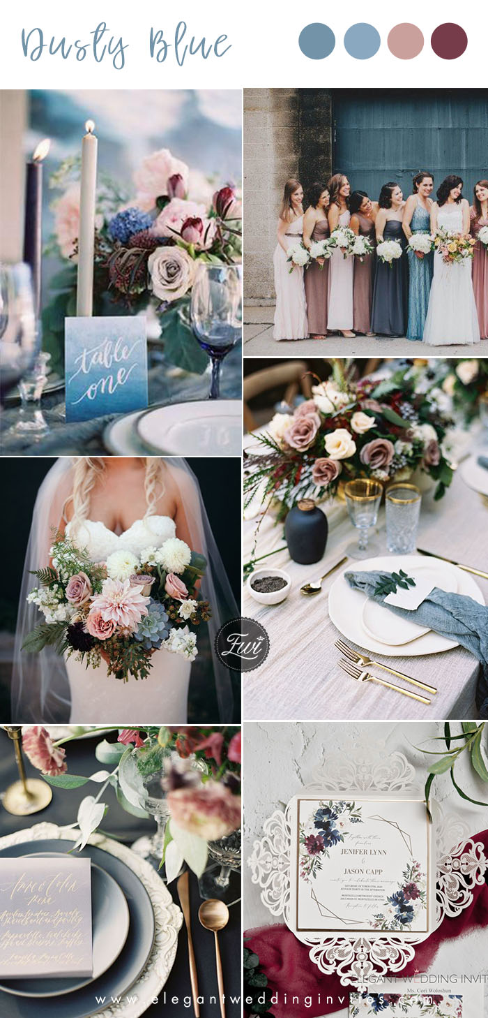 dusty blue, dusty rose wedding colors with hint of cinnamon rose