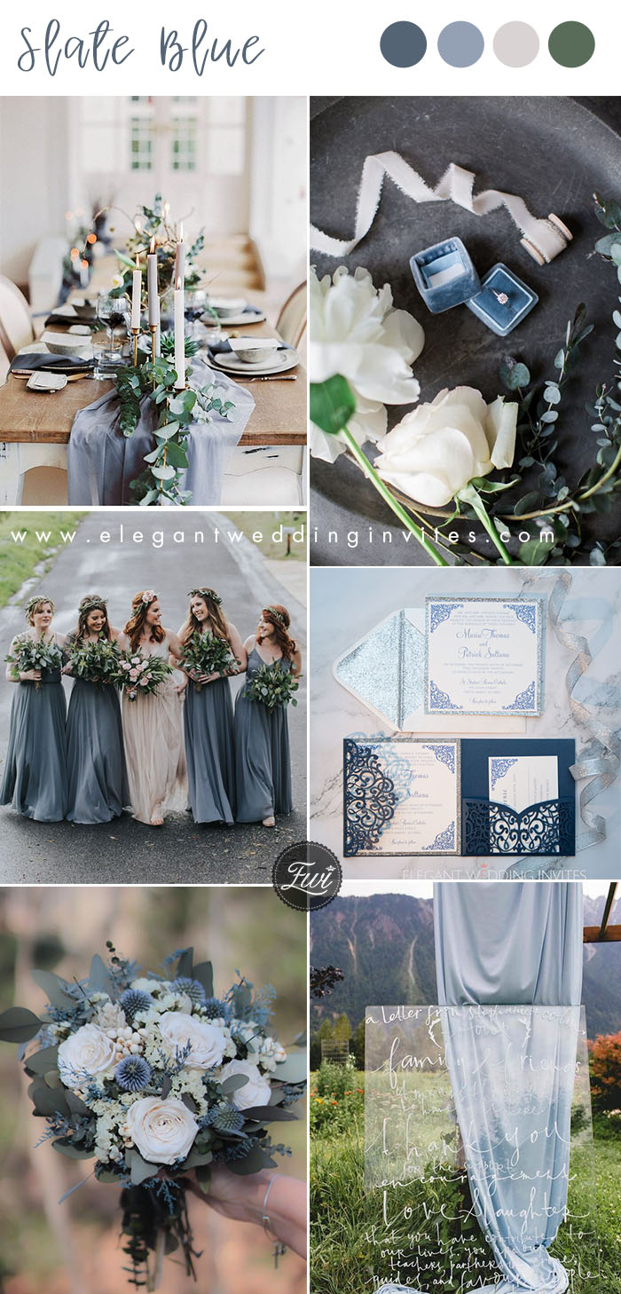 slate bue and white organic wedding colors
