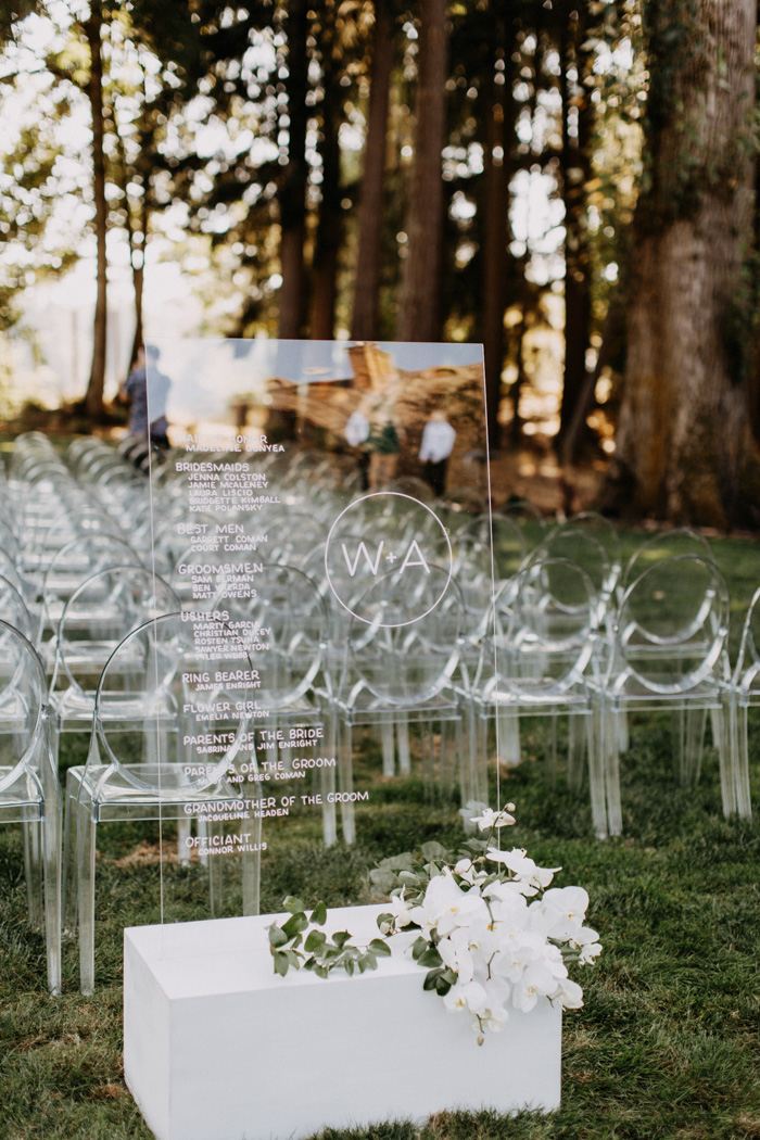 edgy elegant modern acrylic wedding ceremony decoration ideas