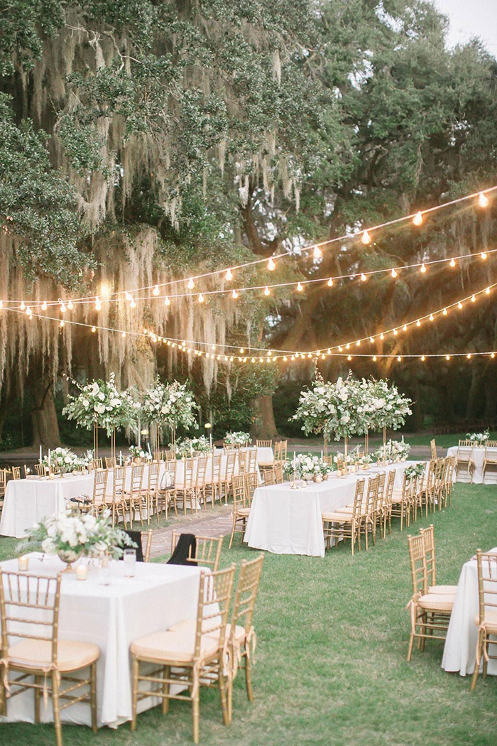 elegant classic white and greenery outdoor garden wedding reception ideas
