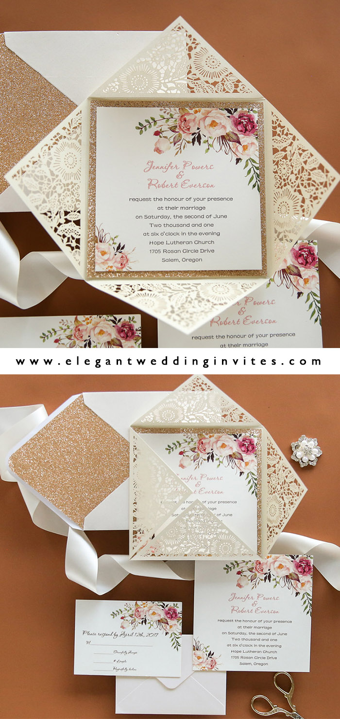 elegant ivory and blush boho style laser cut weddding invites for garden weddings