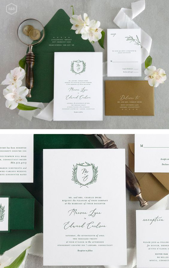 greenery monogram wedding invitation in trending