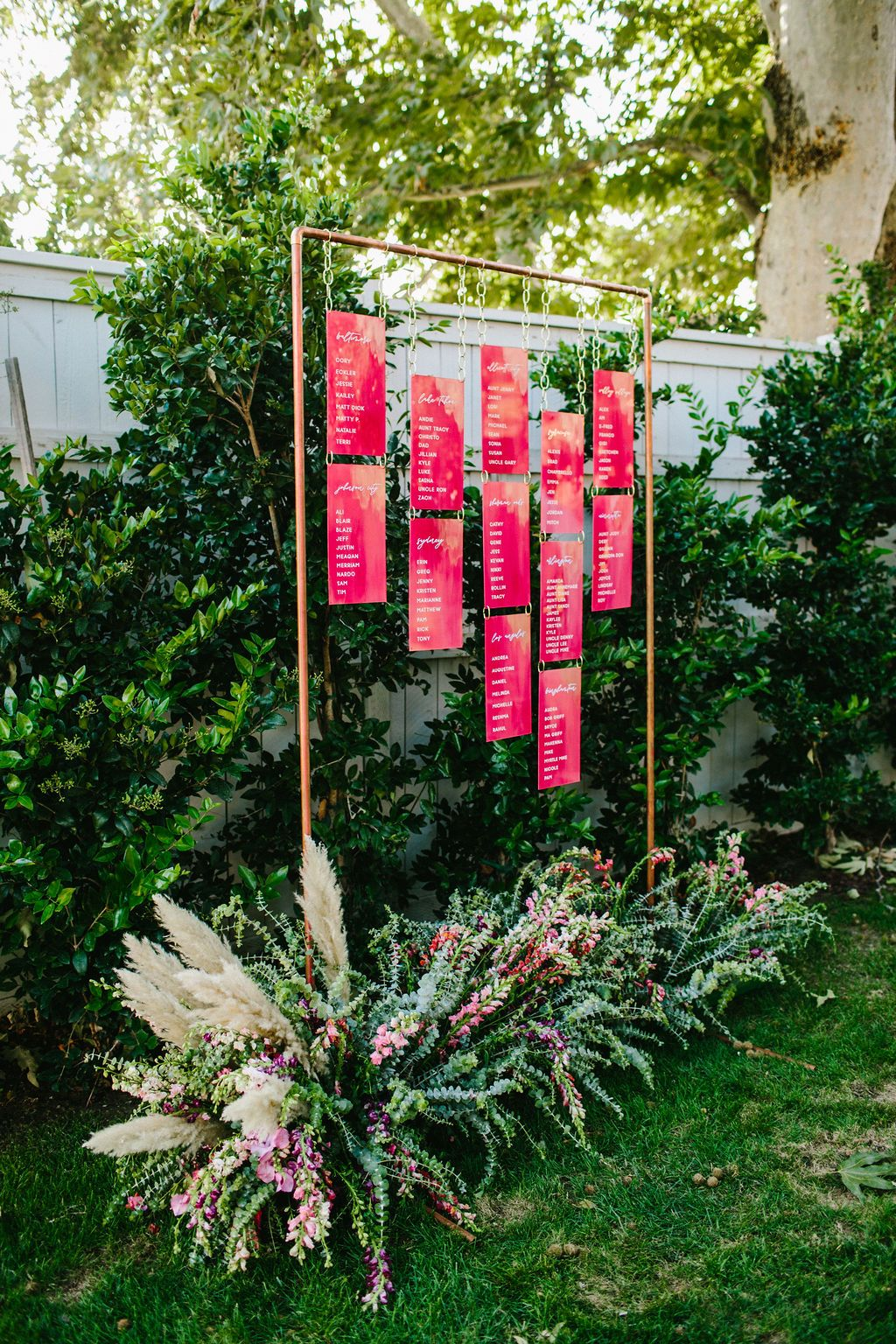 hanging acrylic outdoor wedding sign ideas