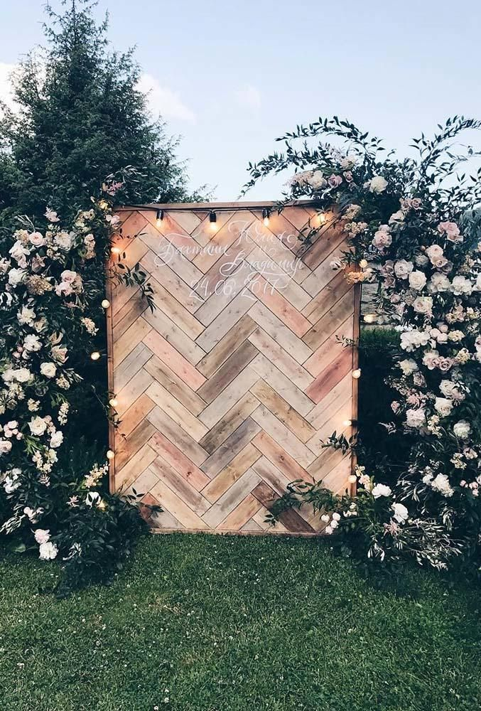 inspirational Giant board and lush floral garden wedding ceremony ideas