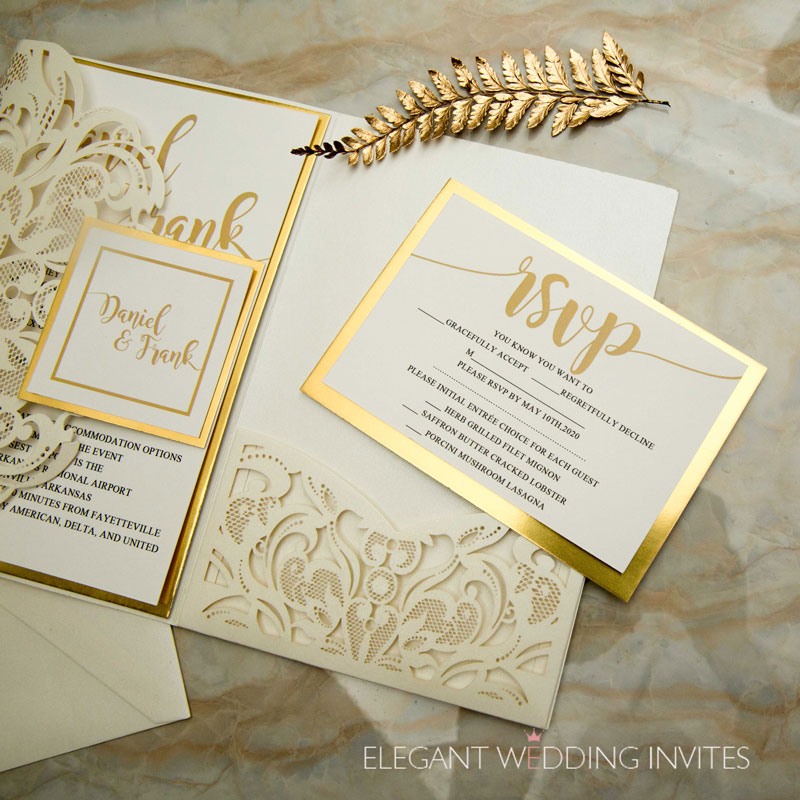 ivory laser cut pocket fold wedding invitation set with RSVP card featuring a mirrored backer