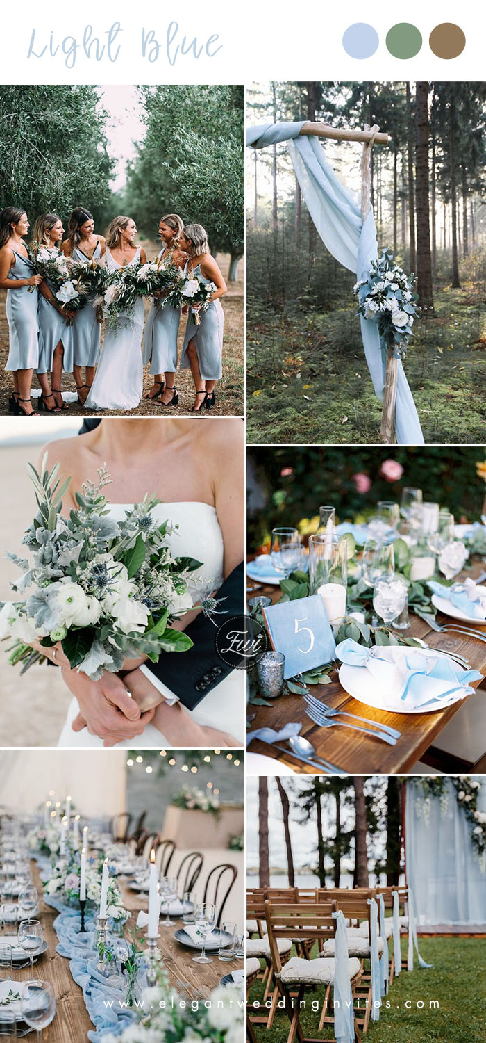 light blue and greenery rustic chic wedding colors