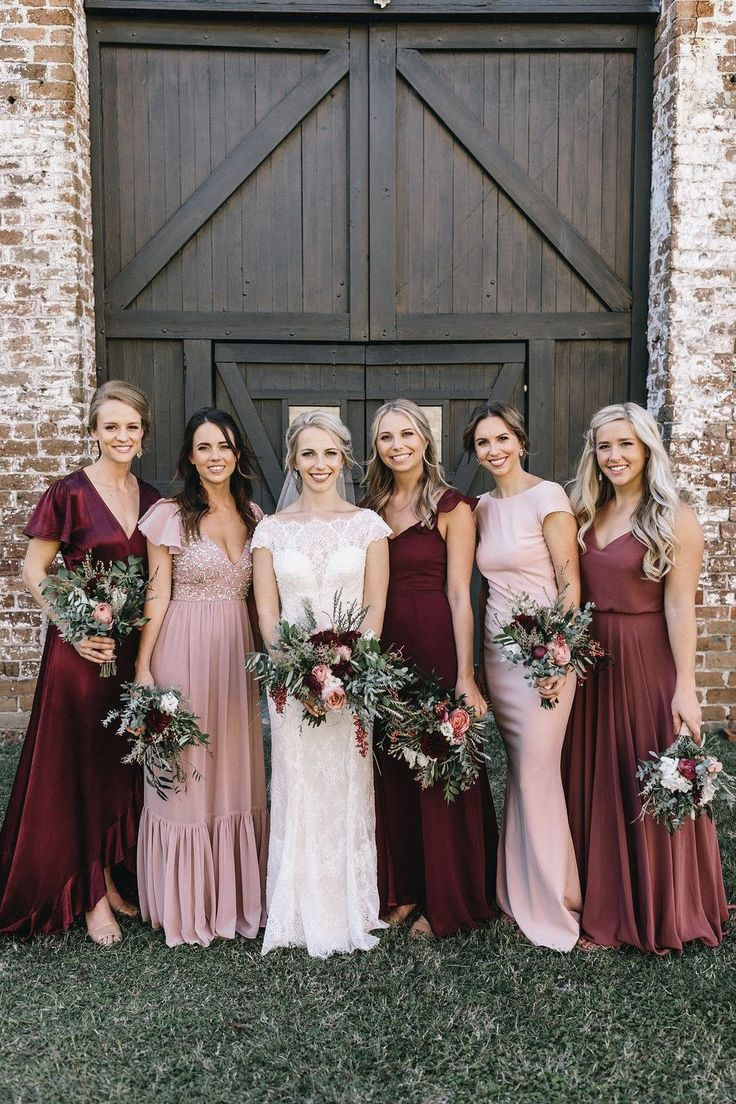 mismatched bridesmaid dresses in burgundy, blush and cinnamon rose for 2020 trends