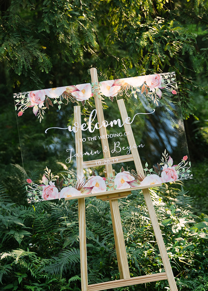 pink flowers acrylic wedding signs