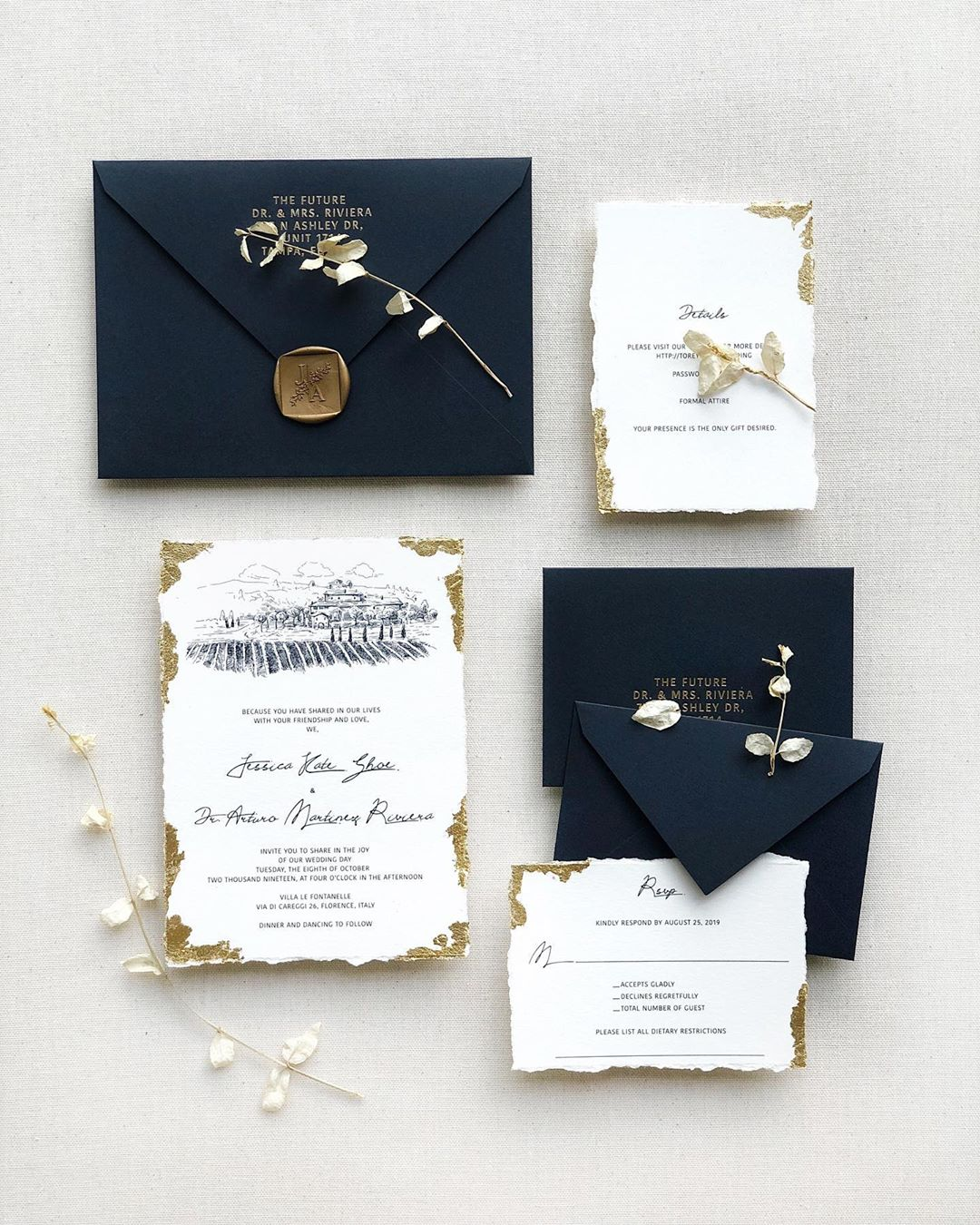 popular deckled-edge paper wedding invitation suite