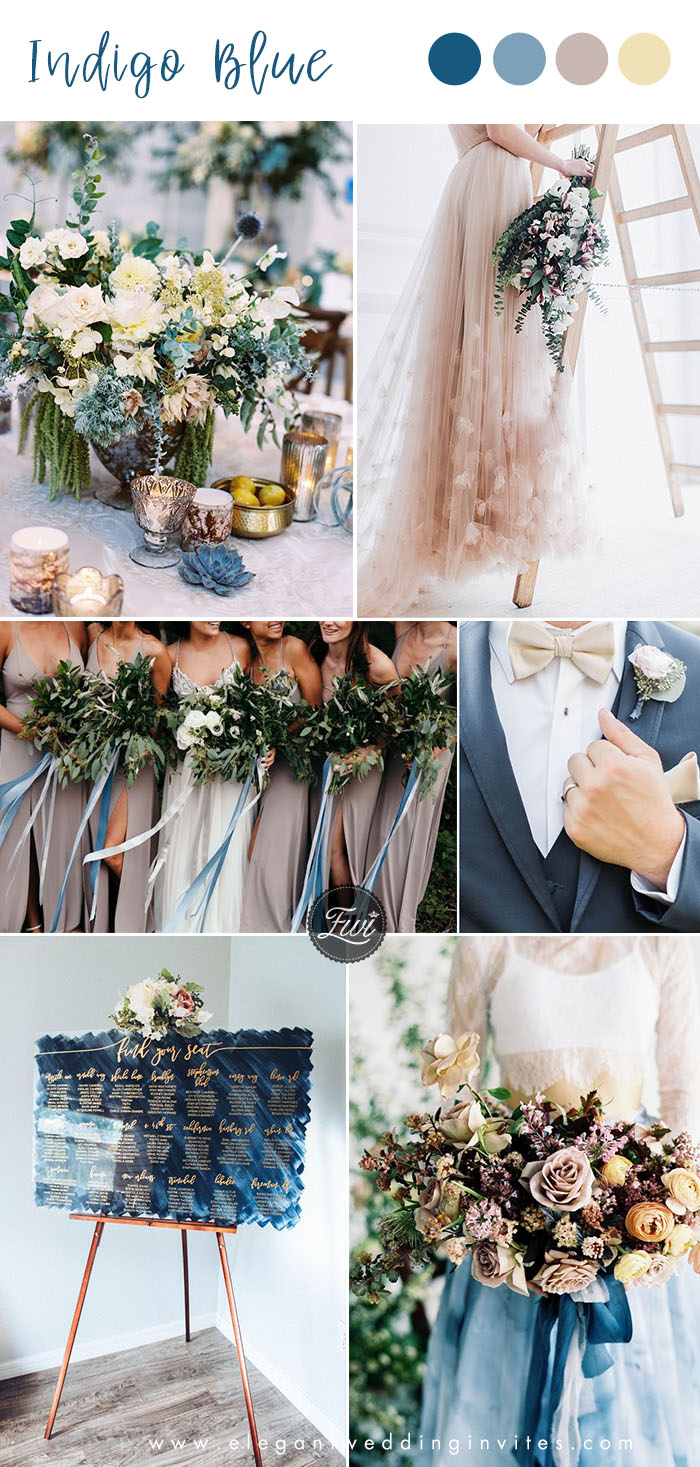 romantic indigo blue and taupe wedding color with yellow hues