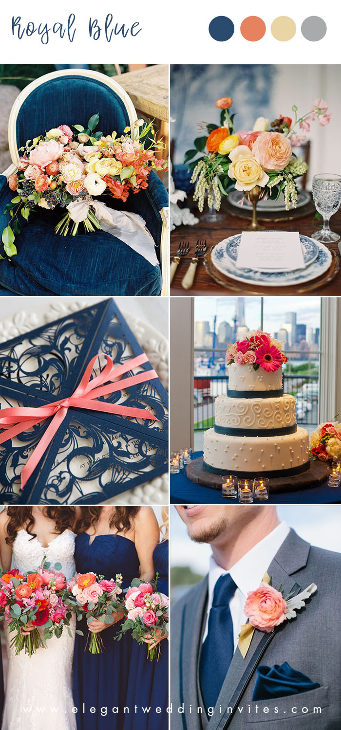 royal blue , orange and yellow vintage wedding colors