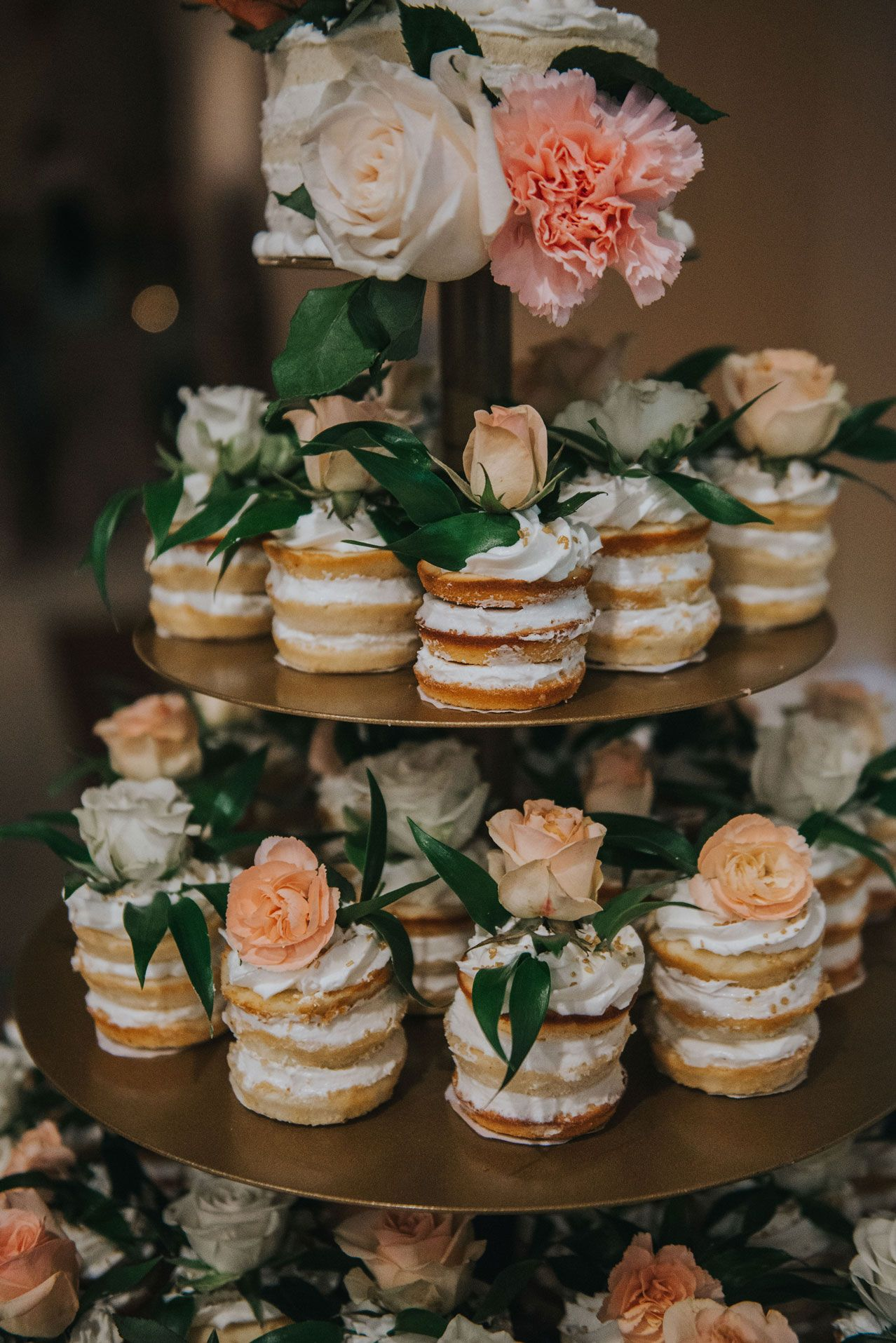 special simple and easy floral cupcake wedding cake