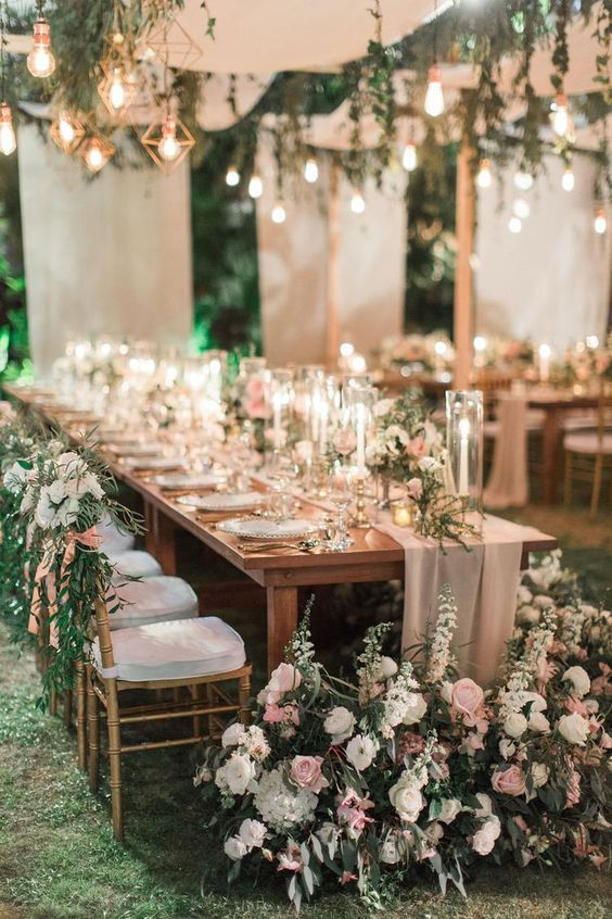 stunning pink foral garden weddig table ideas