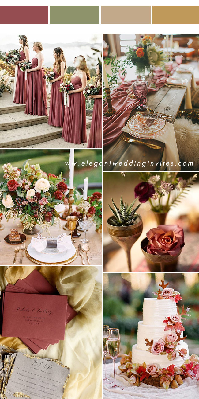 trending cinnamon rose and yellow gold fall wedding colors for 2020