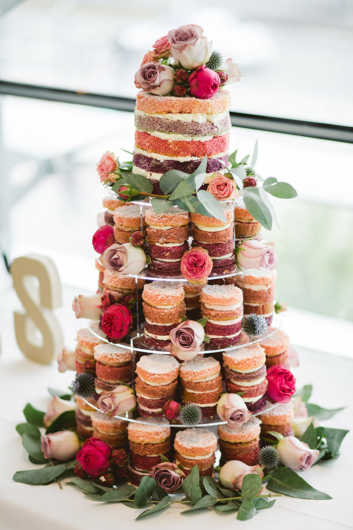 unusual naked wedding cupcakes with fresh flowers for garden wedding