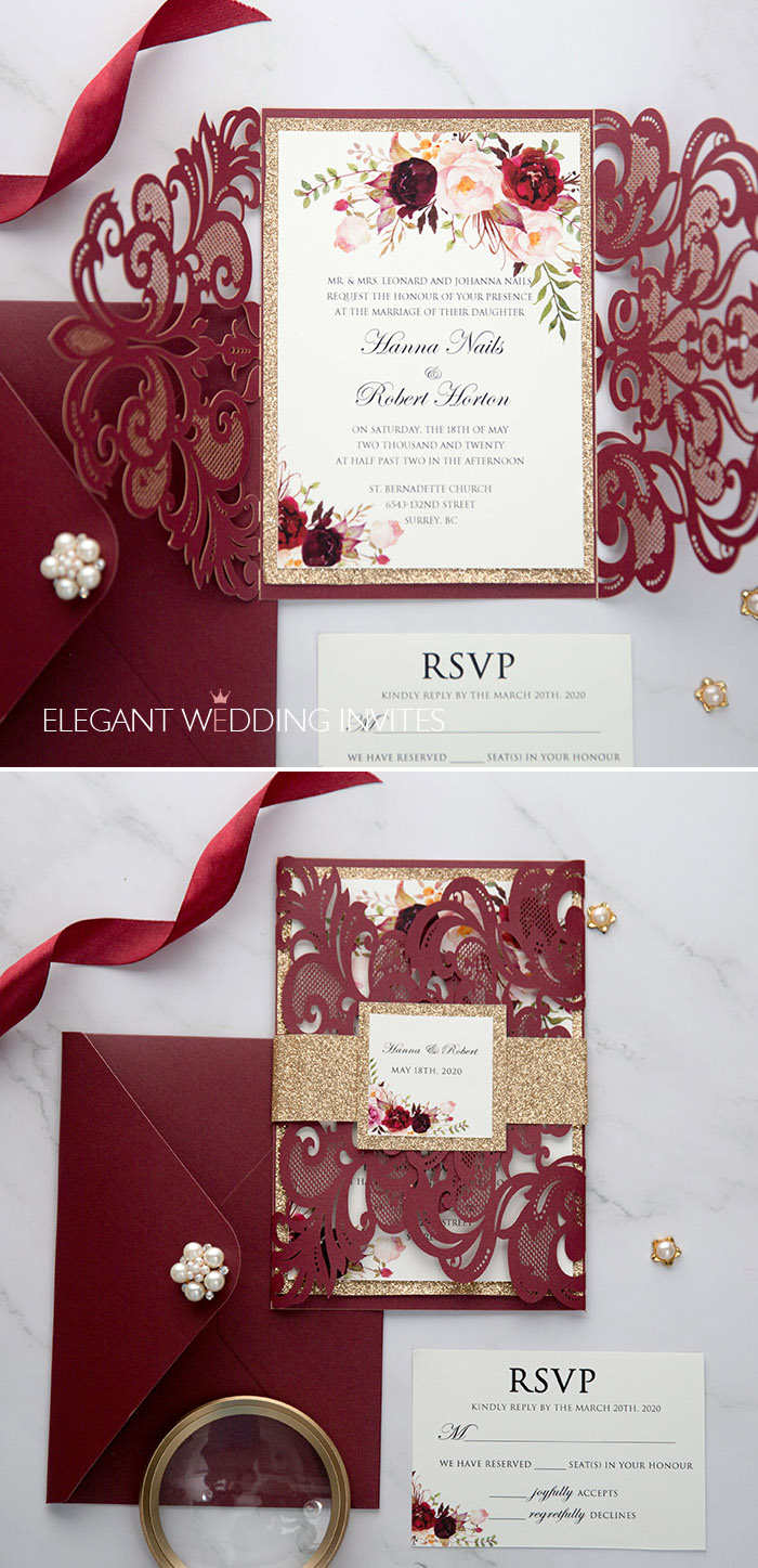 vivid burgundy and blush laser cut wedding invites with glitter tags