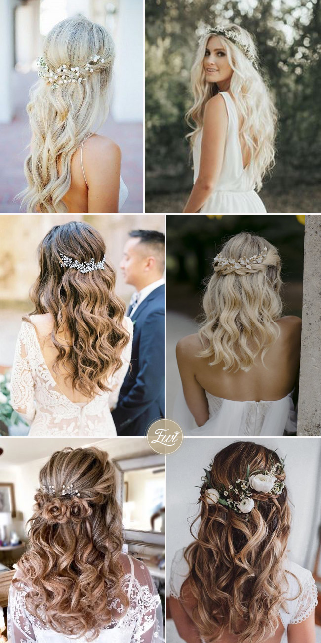 wedding hairstyle ideas with flower crown cover up