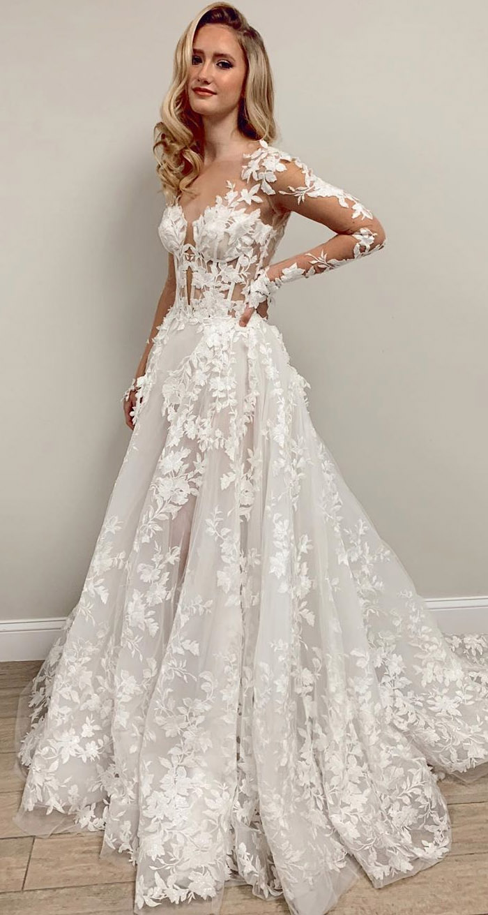 3d lace applique long sleeve wedding dresses