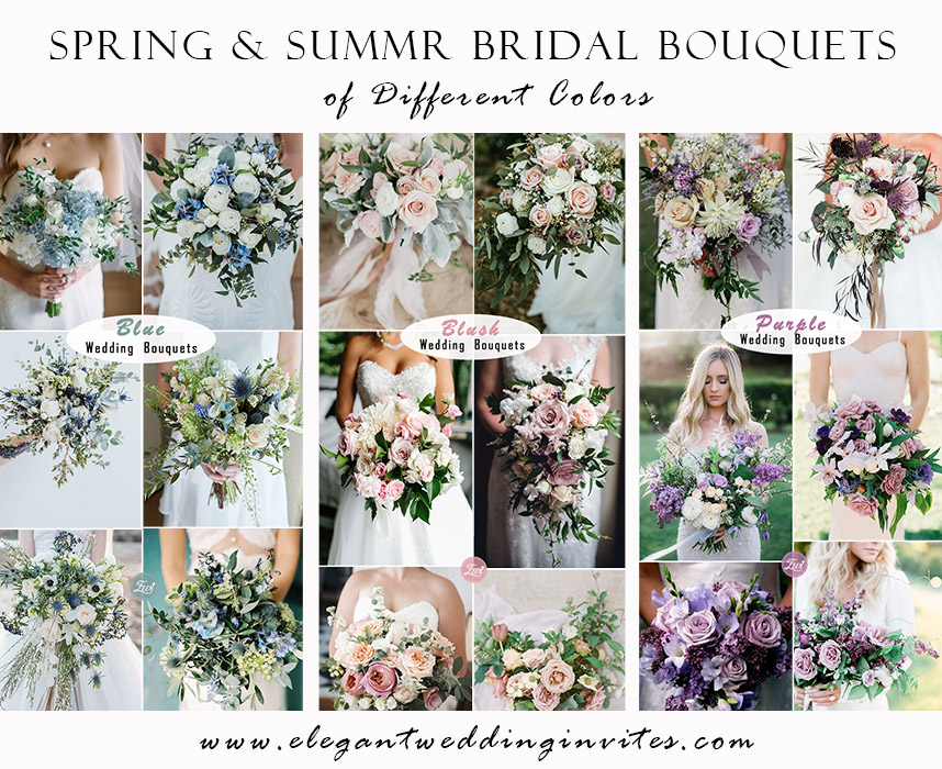 50 stunning spring and summer bridal bouquets of different colors