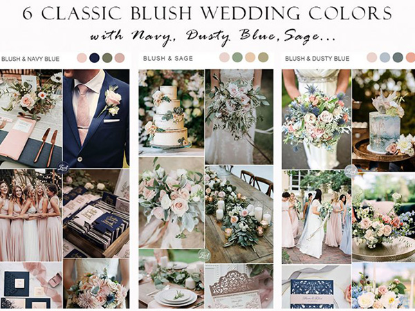 6 classic blush wedding colors