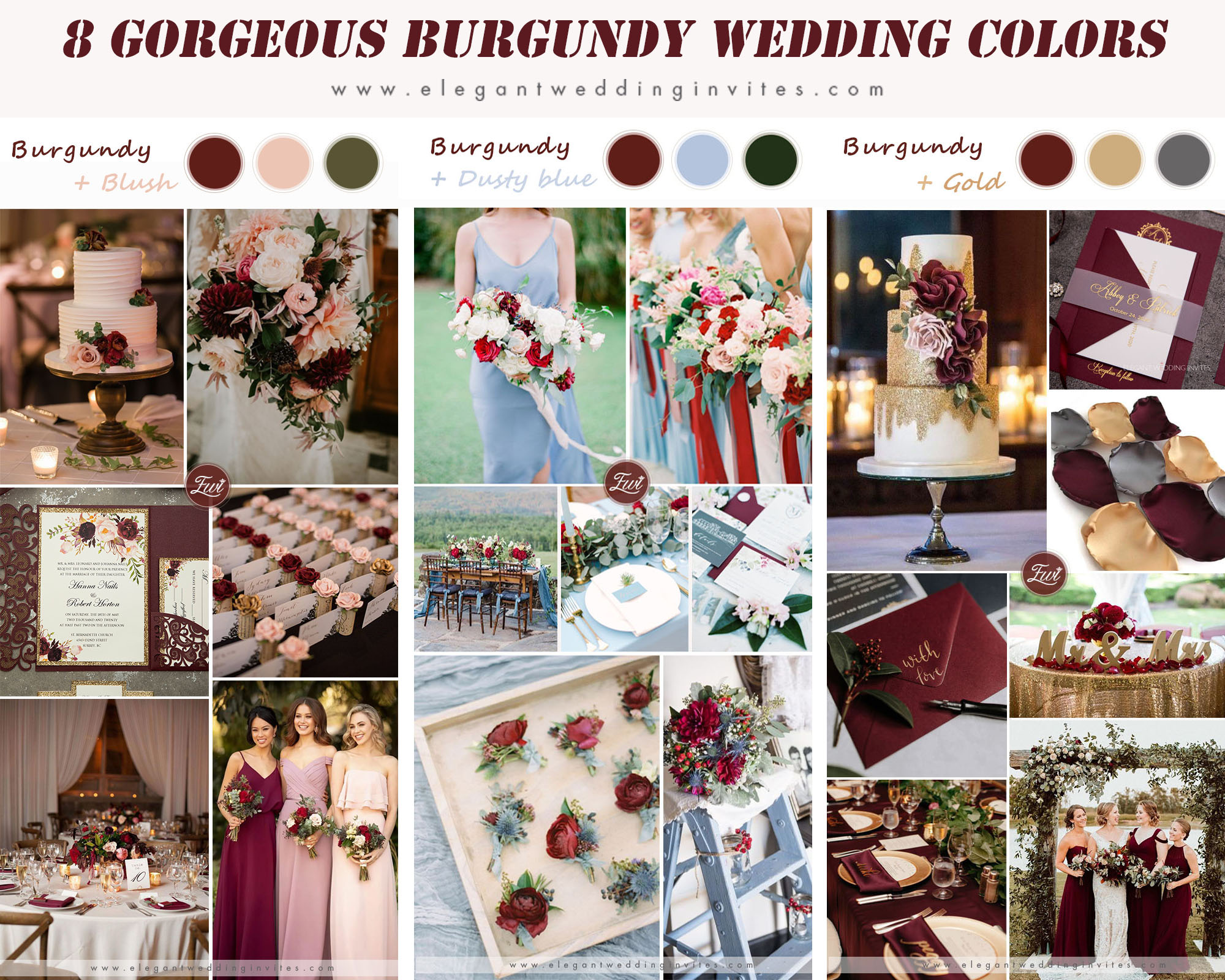 gorgeous burgundy wedding color palettes