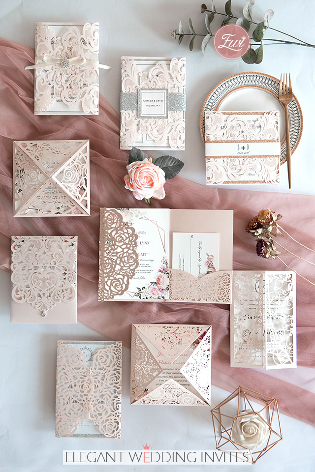 blush pink laser cut wedding invitations with rose gold and silver accents
