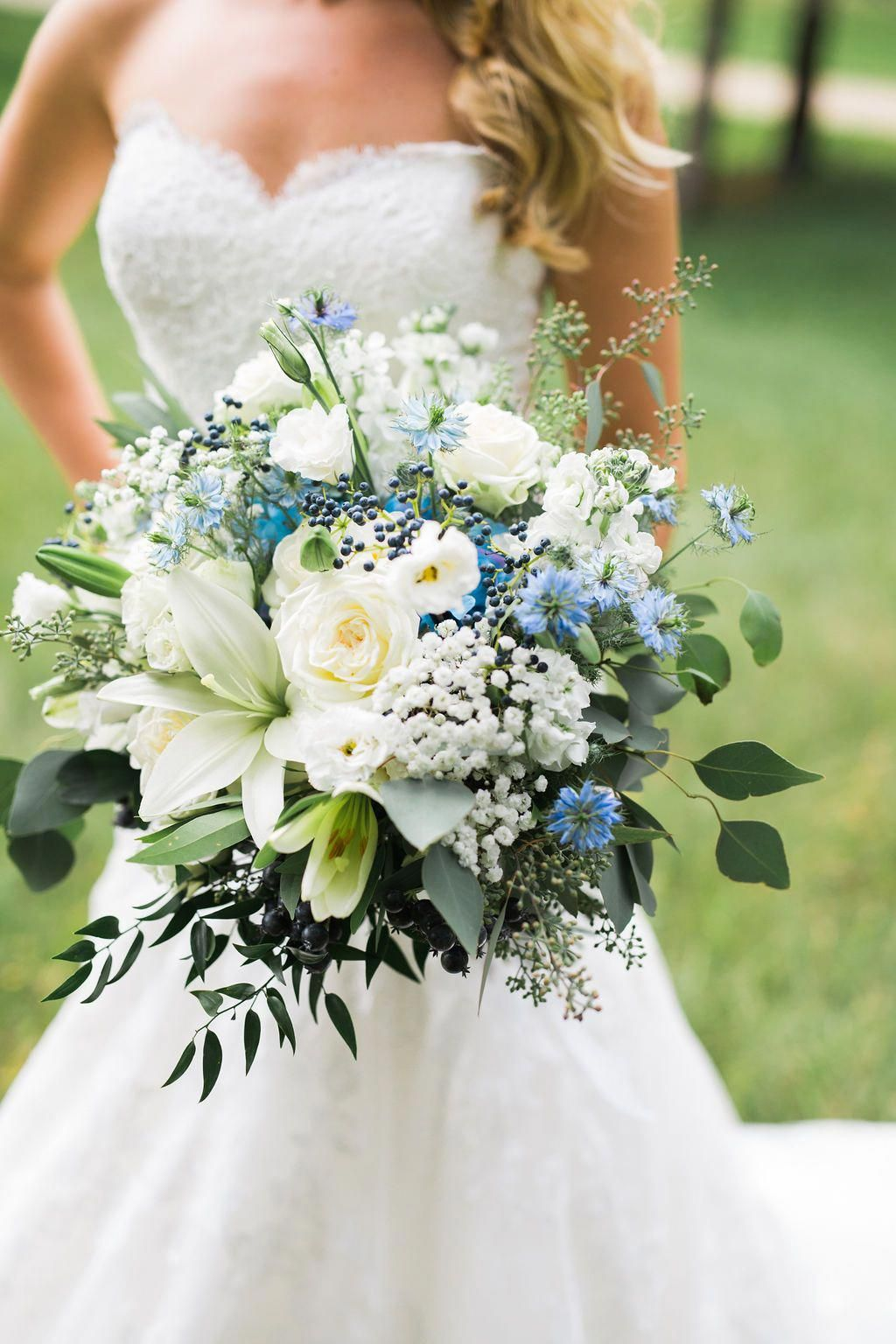 blue and white flowers wedding bouquets