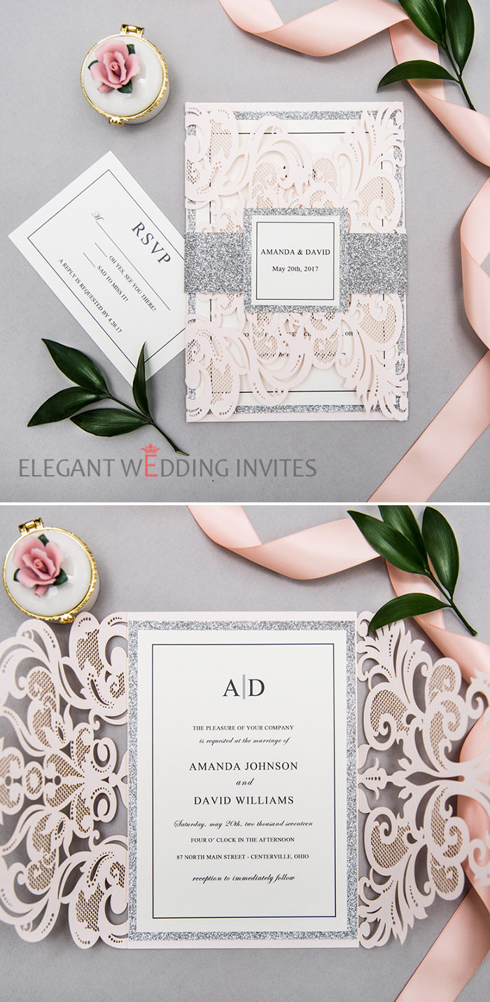 simple blush and silver grey laser cut wedding invitations