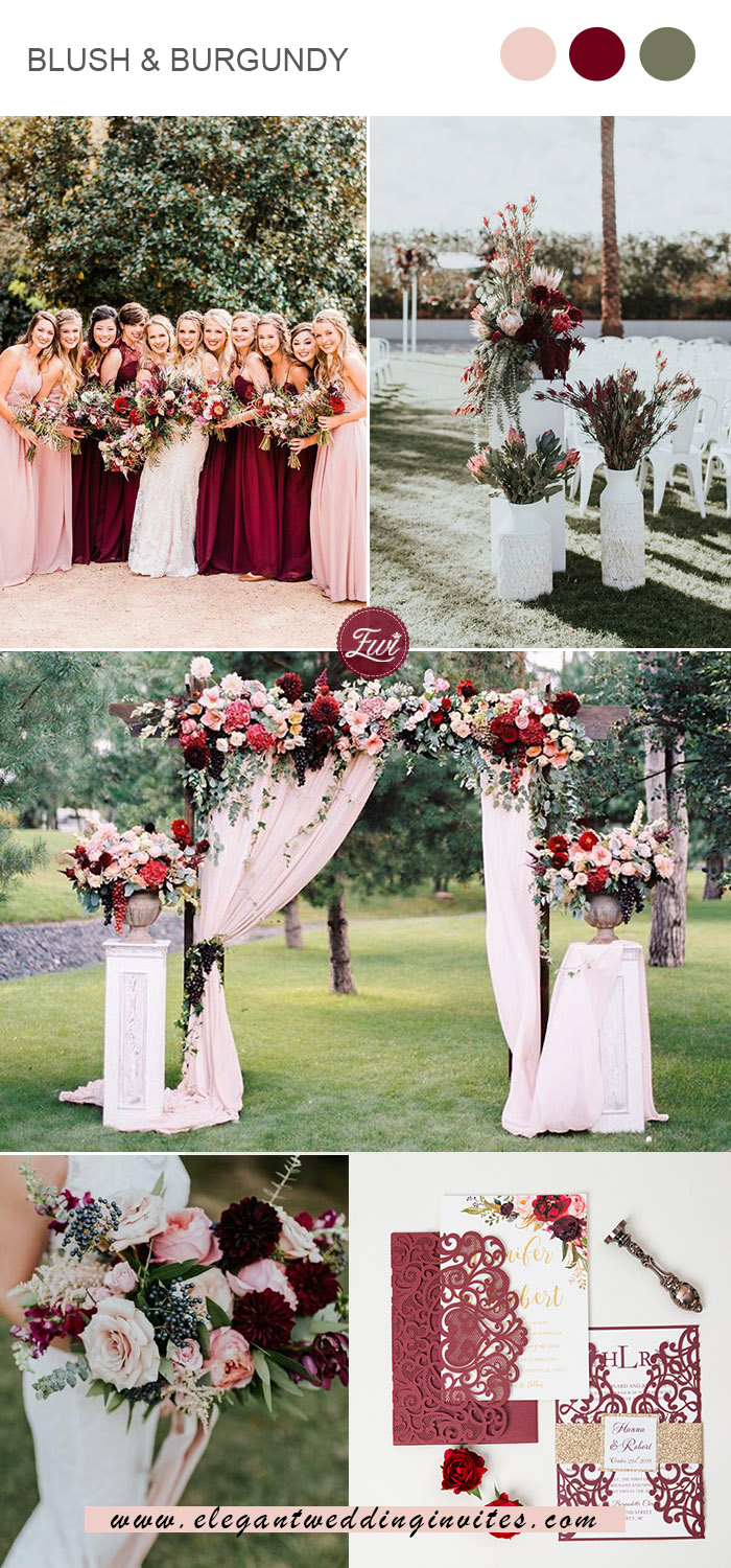 blush, burgundy and greenery spring wedding colors