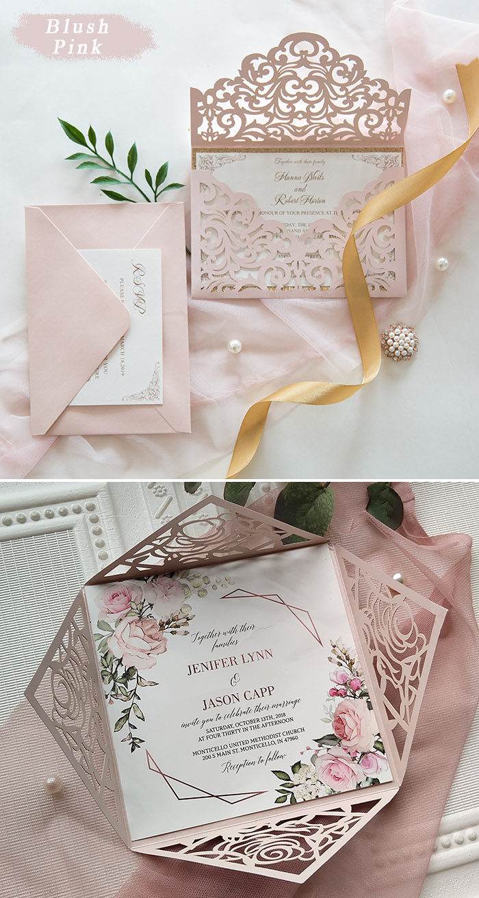 blush pink elegant laser cut wedding invtes