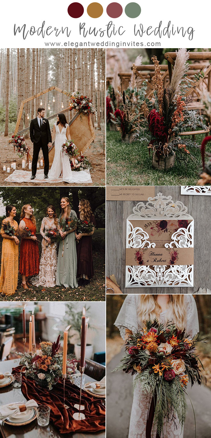 boho style modern rustic wedding colors in copper and burgundy