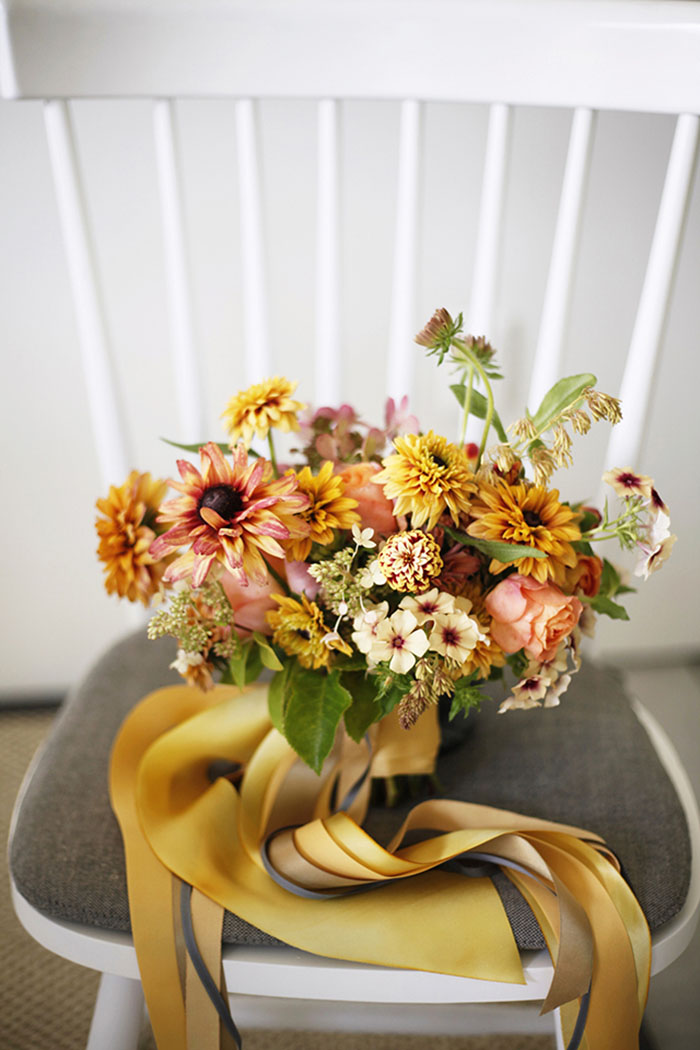 bright and bold yellow summer wedding flowers