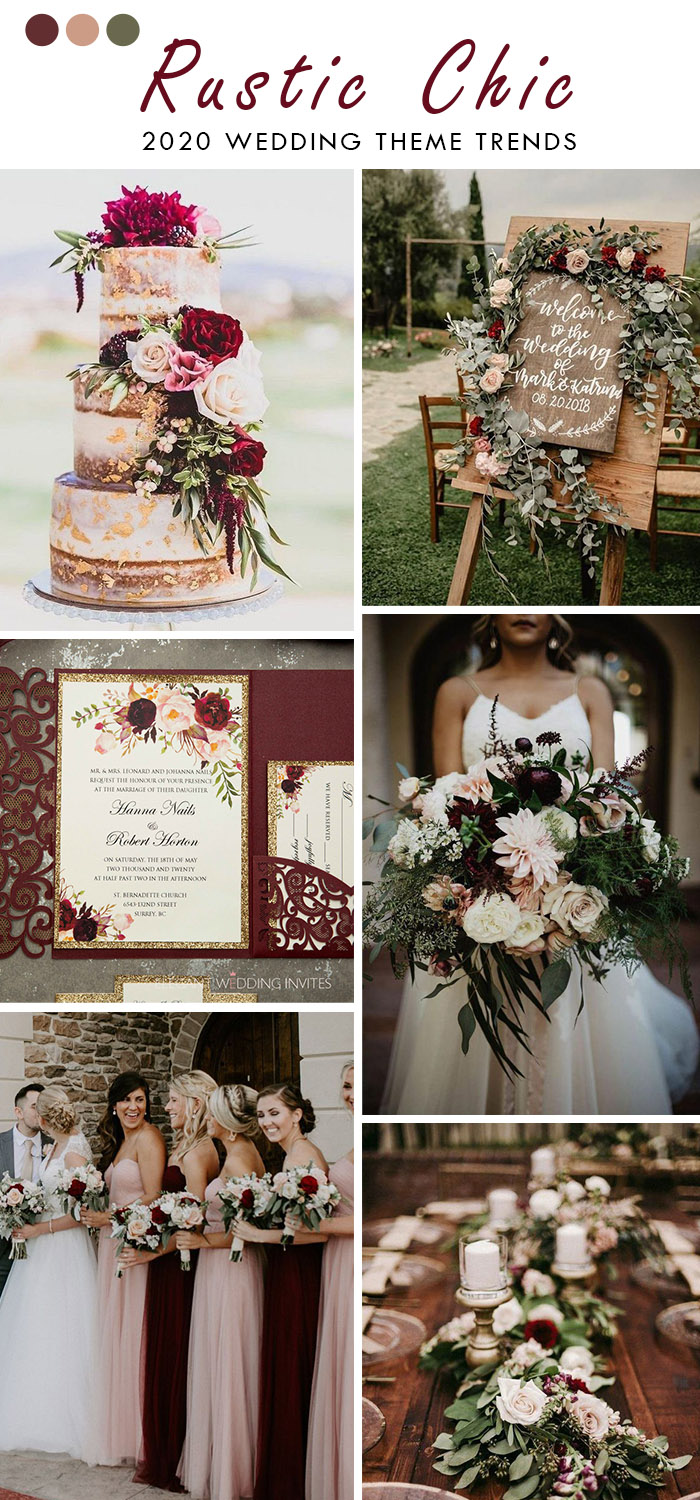 burgundy and blush rustic chic wedding color with rose gold glitters